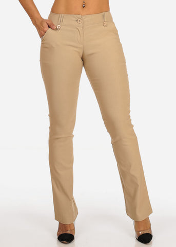 Office Business Wear 1 Button Mid Rise Taupe Dress Pants