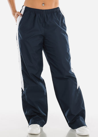 Navy Drawstring Waist Athletic Pants LPO010NVY