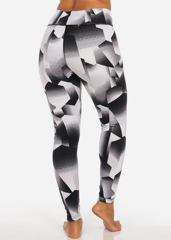 Activewear High Rise Pull On Stretchy Black And White Leggings