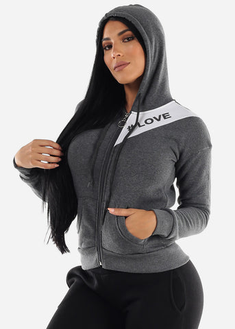 "Long Sleeve Charcoal Hoodie ""Love"""