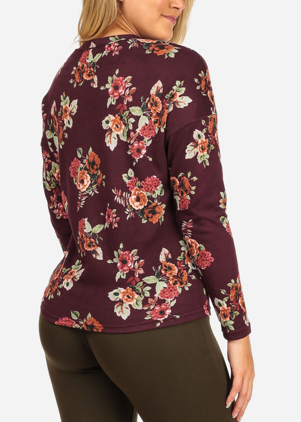 Floral Strappy Burgundy Top