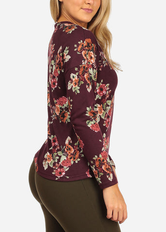 Women's Junior Ladies Stylish Strappy Long Sleeve Burgundy Floral Print Blouse Top