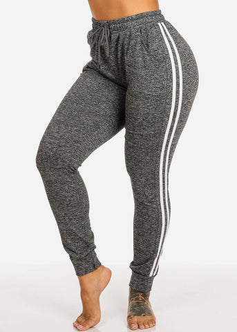One Size Dark Grey Striped Sides Jogger Pants