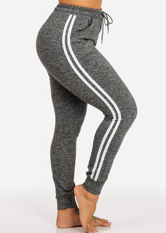 Image of One Size Dark Grey Striped Sides Jogger Pants