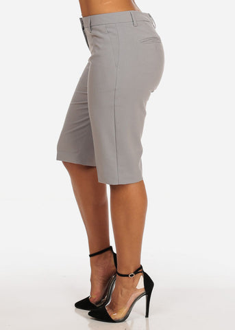 Image of Women's Casual Dressy Straight Hem Plain Zipper Fly Basic Light Grey Bermuda Shorts
