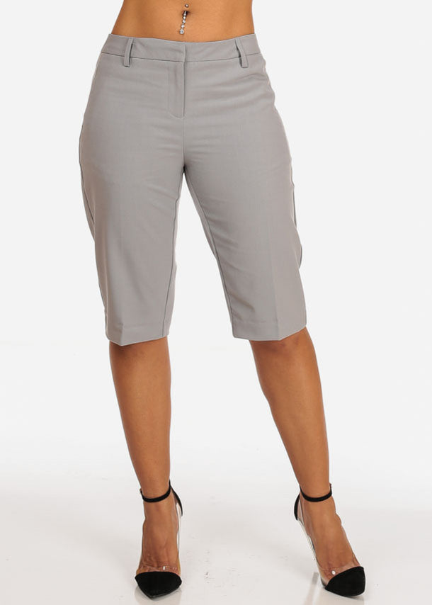 Women's Casual Dressy Straight Hem Plain Zipper Fly Basic Light Grey Bermuda Shorts