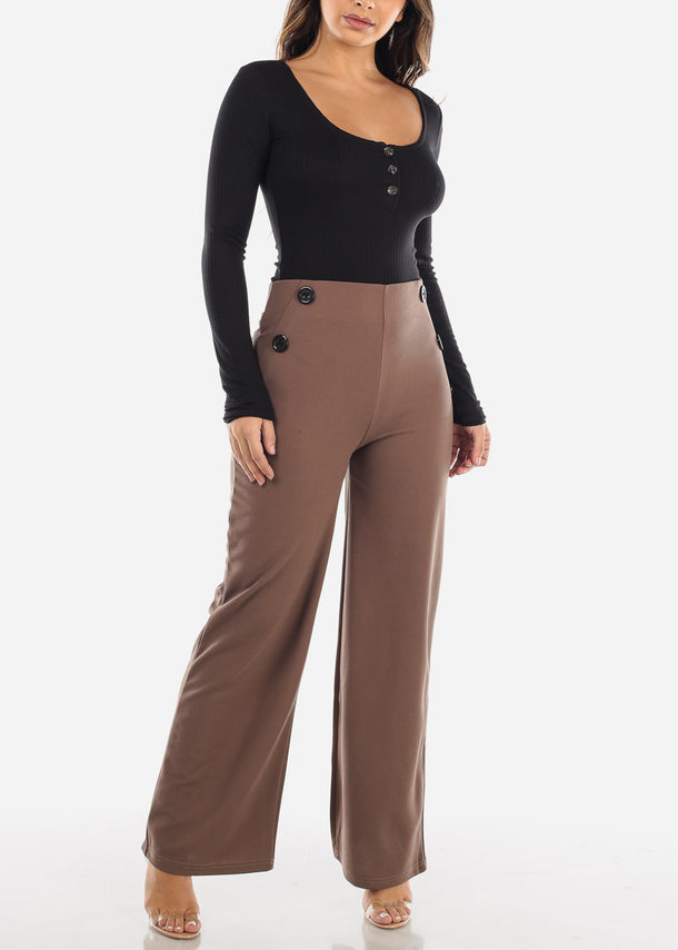 High Rise Wide Leg Brown Palazzo Pants