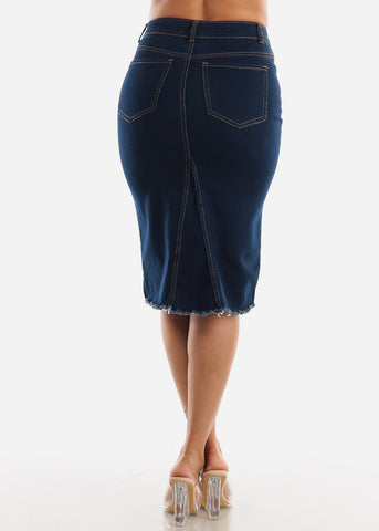 Image of Front Slit Dark Wash Denim Skirt