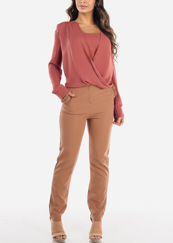 Image of High Rise Straight Leg Mocha Dress Pants