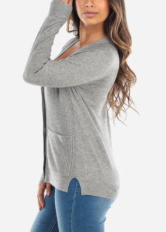 Button Up Grey Cardigan