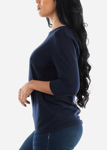 Image of Three Quarter Sleeve Navy Shirt