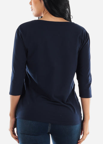 Three Quarter Sleeve Navy Shirt