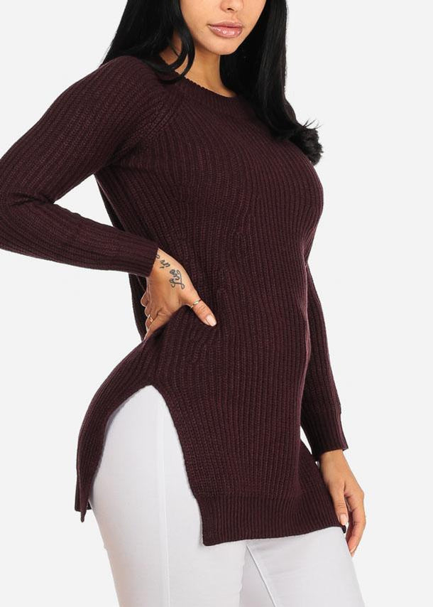 Cozy Knitted Burgundy Long Sweater