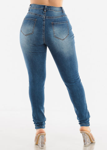 Image of Medium Blue Skinny Jeans