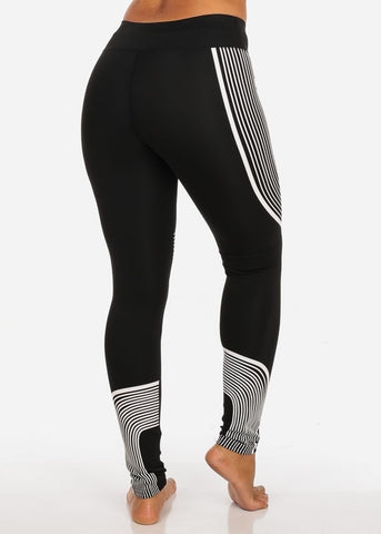 Activewear High Rise Pull On Stretchy Black And White Stripe Print Leggings