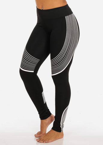 Image of Activewear High Rise Pull On Stretchy Black And White Stripe Print Leggings