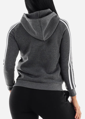 Stripe Sleeves Charcoal Hoodie