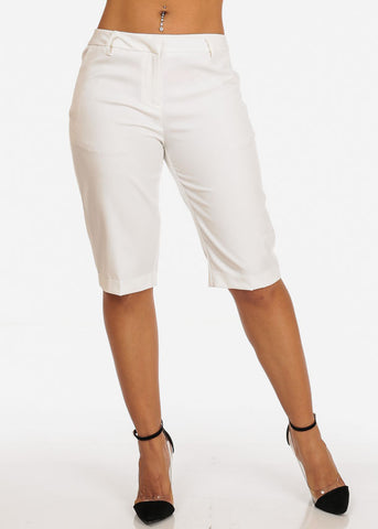 Women's Casual Dressy Straight Hem Plain Zipper Fly Basic White Bermuda Shorts