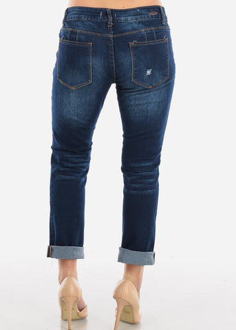 Image of Butt lifting Dark Wash Boyfriend Jeans