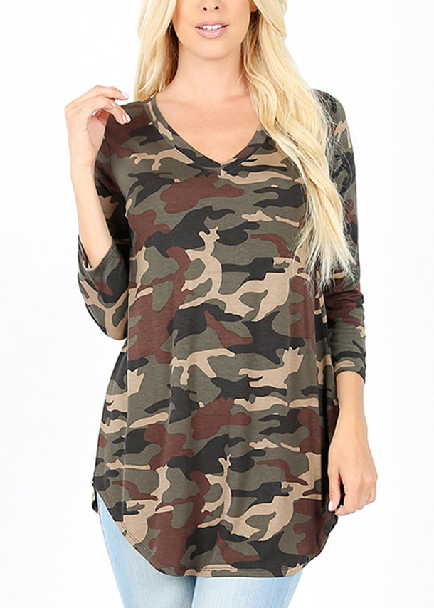Camouflage V-Neck Tunic Top