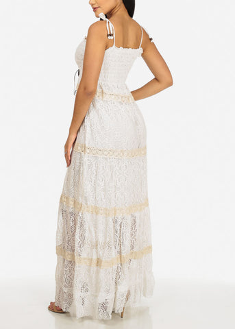 White Crochet Details Maxi Dress
