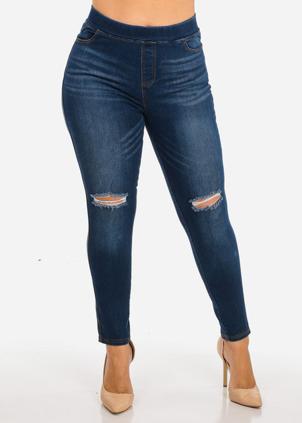 Plus Size Denim Ankle Jeans