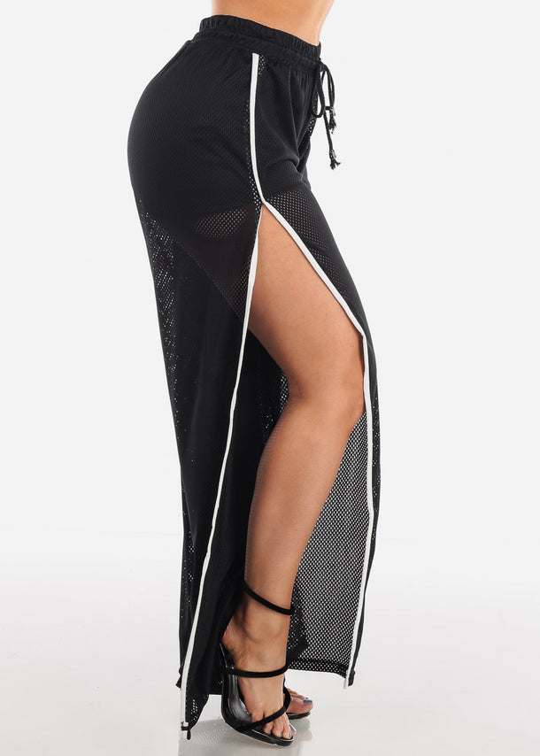 Sexy Black Mesh Wide Legged Pants