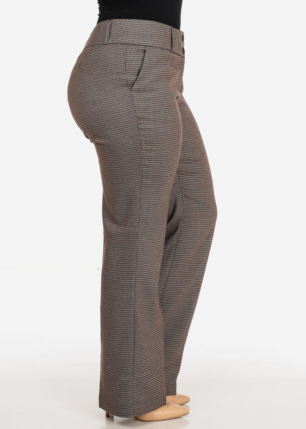 Plus Size Pattern Print Brown Dress Pants