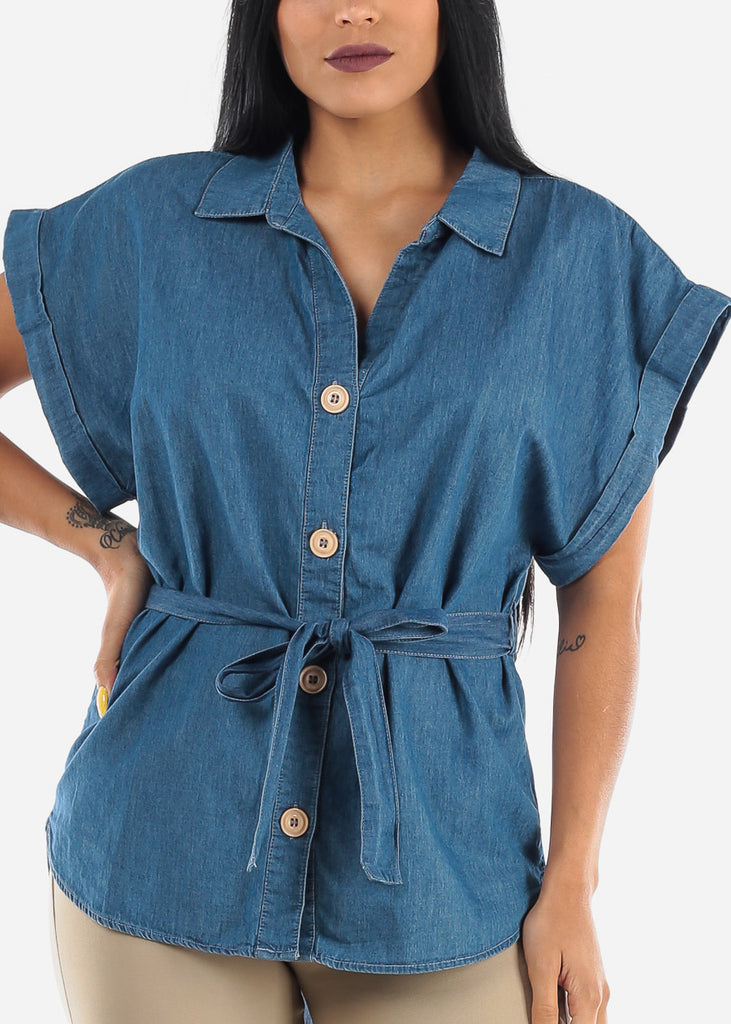 Belted Button Up Med Wash Tunic Top