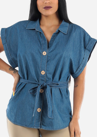 Image of Belted Button Up Med Wash Tunic Top