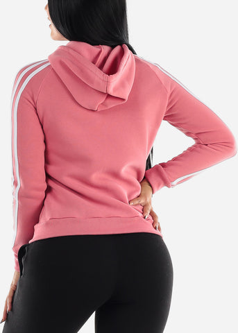 Image of Stripe Sleeves Pink Hoodie