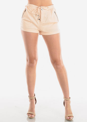 Image of Women's Junior Ladies Casual Cute Going Out Beach Vacation High Waisted Peach Linen Shorts