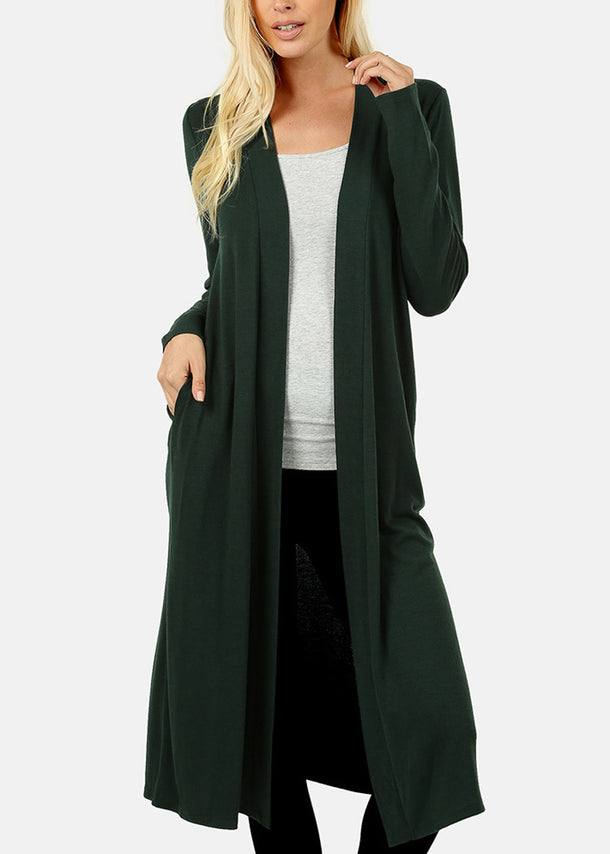 Open Front Dark Green Maxi Cardigan