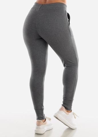 Image of Drawstring Waist Charcoal Jogger Pants
