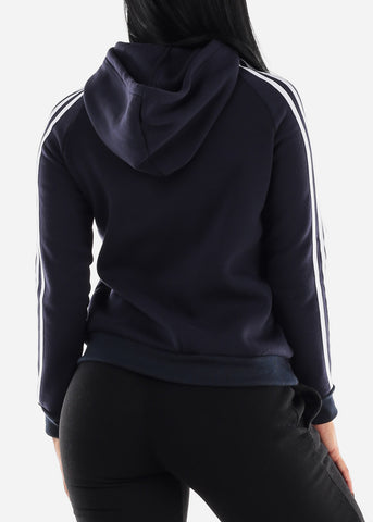 Image of Stripe Sleeves Navy Hoodie