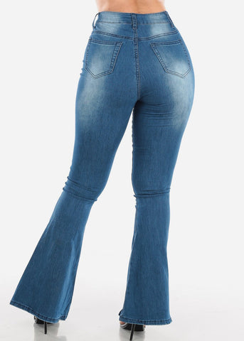 High Waisted Med Wash Bell Bottom Jeans