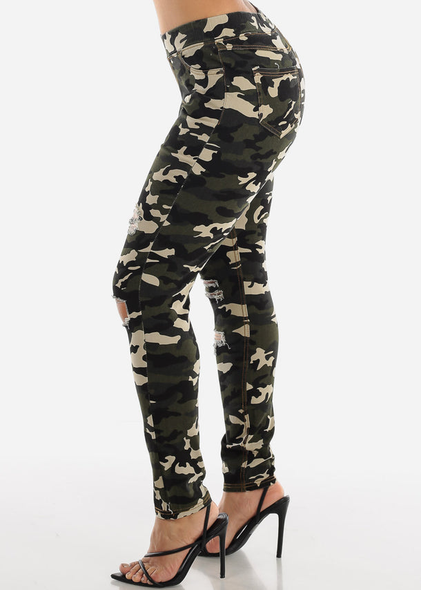 Distressed Olive Camo Jeggings