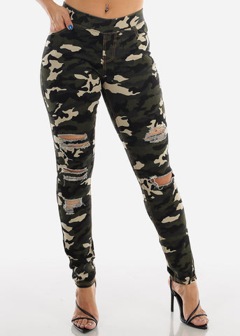Image of Distressed Olive Camo Jeggings