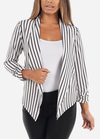 Image of White Stripe Open Blazer
