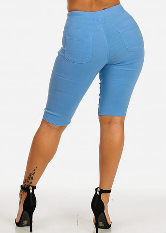 Drawstring Stretchy Blue Casual Capri