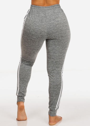 One Size Grey Striped Sides Jogger Pants