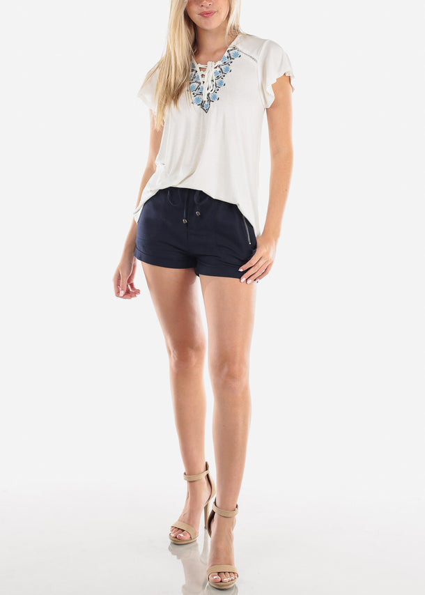 High Rise Linen Navy Shorts