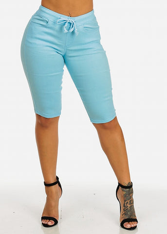 Image of Drawstring Stretchy Light Casual Capri