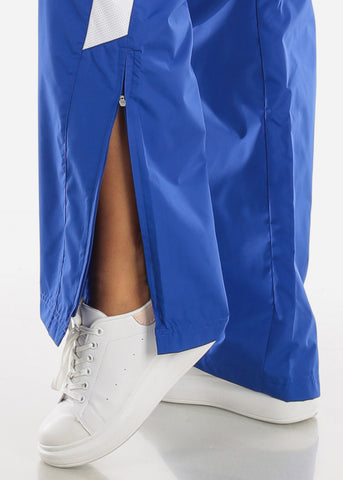 Blue Drawstring Waist Athletic Pants