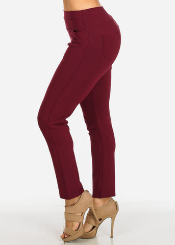 Image of High Waisted Burgundy Skinny Pants