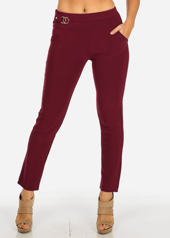 High Waisted Burgundy Skinny Dressy Pants