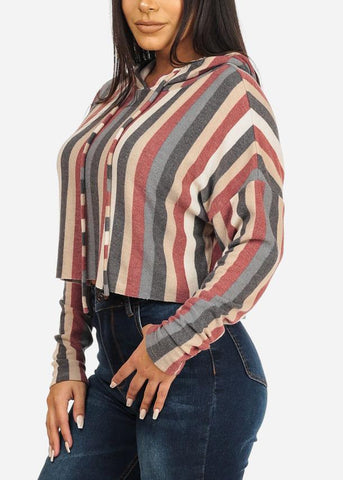 Image of Hooded Stripe Cropped Sweatshirt
