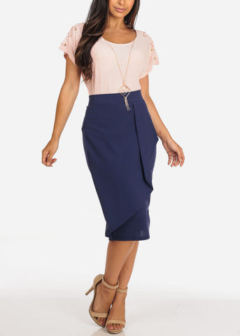Women's Junior Ladies Dressy Office Business Career Wear Front Ruffle Side Detail Blue Pencil Skirt