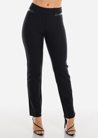 Image of High Rise Straight Leg Black Dress Pants