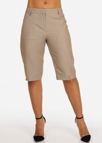Image of Women's Casual Dressy Straight Hem Plain Zipper Fly Basic Mocha Bermuda Shorts